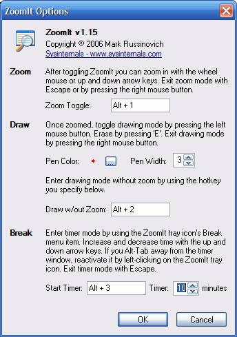 [Picture of ZoomIt Option Dialog]