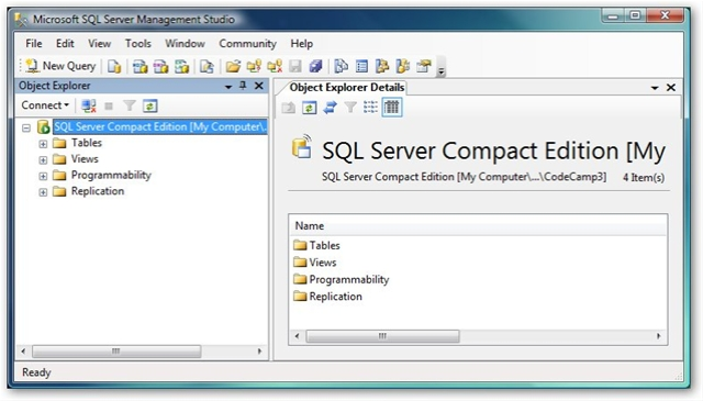 Create a sql server compact edition database using sql - How to find a table in sql server management studio ...