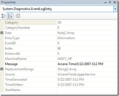 [Pic of Properties showing detailed EventLog Message]