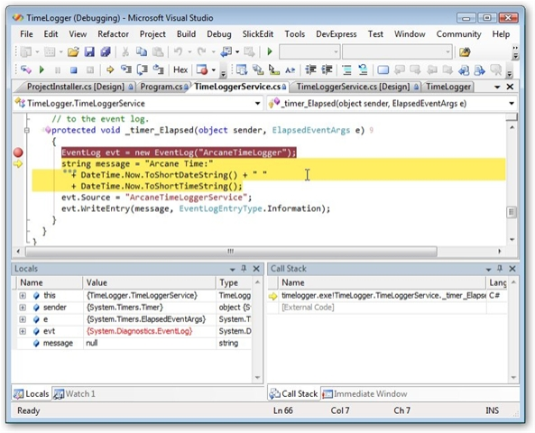 Windows Services in C#: Debugging Windows Services (part 4