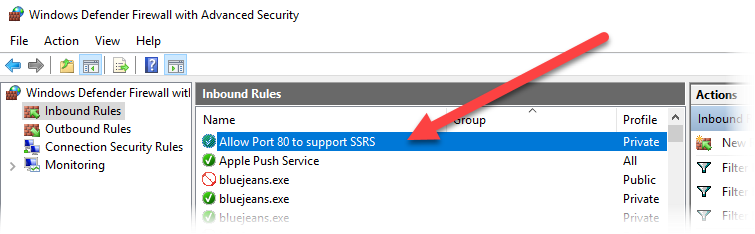 Opening Port 80 in Windows Firewall to Support Calling SSRS