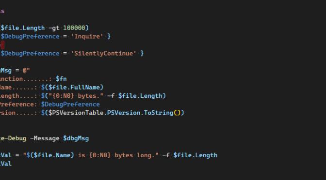 Fun With PowerShell Write-Debug