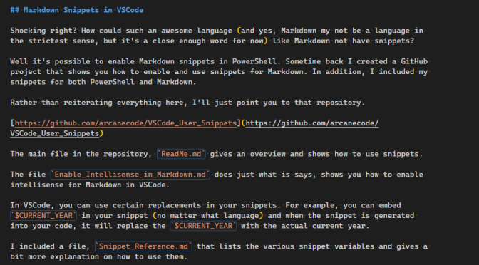 Fun With VSCode Snippets for Markdown and PowerShell
